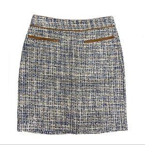 Ann Taylor Sz 0 blue/tan tweed skirt